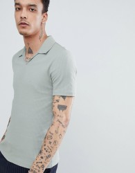 Reiss Polo Shirt In Green With Open Neck - Green