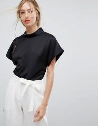 Reiss Short Sleeve High Neck Blouse - Black