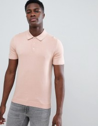 Reiss Short Sleeve Knitted Polo Shirt In Pink - Pink