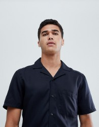 Reiss short sleeve slim shirt in cuban collar - Navy
