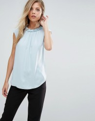 Reiss Sleeveless Tank Top With Neck Detail - Navy