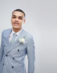Reiss Slim Double Breasted Suit Jacket In Light Blue Linen - Blue