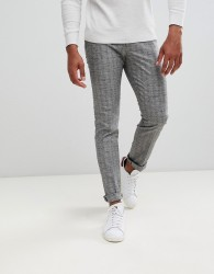 Reiss slim fit trousers in grey windowpane check - Grey
