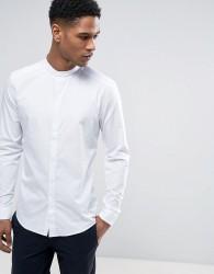 Reiss Slim Grandad Shirt in Fine Stripe - White