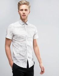 Reiss Slim Shirt In Tropical Print - Stone