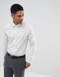 Reiss Slim Shirt In White Melange - Stone