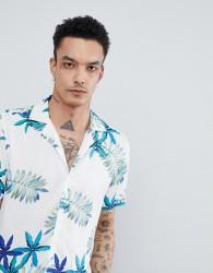 Reiss Slim Short Sleeve Shirt In White With Hawaiian Print - White