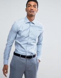 Reiss Slim Smart Shirt in Melange - Blue