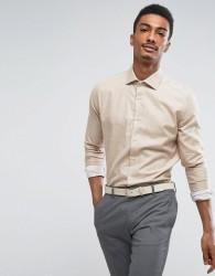 Reiss Slim Smart Shirt in Melange - Brown