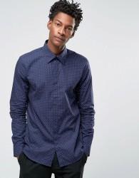 Reiss Slim Smart Shirt in Polka Dot - Navy