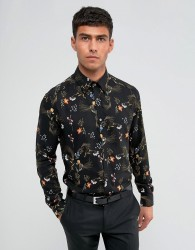 Reiss Slim Smart Shirt in Print - Black