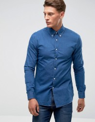 Reiss Slim Smart Shirt with Button Down Collar - Blue