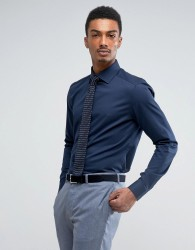 Reiss Slim Smart Shirt with Classic Collar - Navy