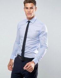 Reiss Slim Smart Shirt with Double Cuff - Blue