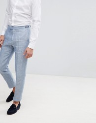 Reiss Slim Suit Trousers In Light Blue Linen - Blue