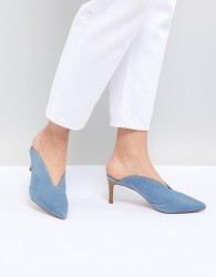 Reiss Suede Pointed Kitten Heel - Blue