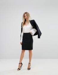 Reiss Tailored Textured Skirt - Black