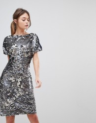 Reiss Teresa Sequin Party Dress - Silver