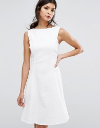 Reiss Textured Fit And Flare Dress - White