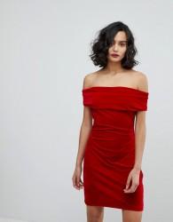 Reiss Velvet Off Shoulder Dress - Red
