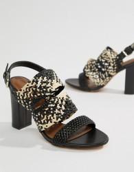 Reiss Woven Block Heel Sandal - Black