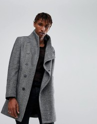 Religion Coat With Asymetric Buttons In Herringbone - Grey