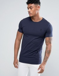 Religion Crew Neck T-shirt in Muscle Fit - Navy
