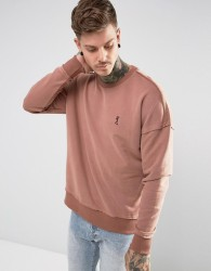 Religion Dropped Shoulder Sweatshirt With Raw Seam - Pink
