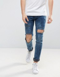 Religion Jeans in Super Skinny Stretch Fit with Open Hole Knee - Blue