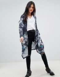 Religion Kimono Cardigan in Ridicule Print - Multi