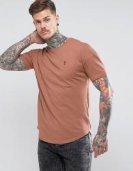 Religion Longline Curved Hem T-Shirt - Pink