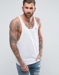 Religion Loose Fitting Vest in Longline With Curved Hem - White