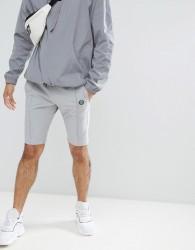 Religion Nylon Shorts In Grey With Stretch - Grey