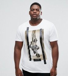 Religion PLUS T-Shirt With Roses Print - White