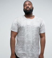 Religion PLUS T-Shirt With Texture And Logo - Grey