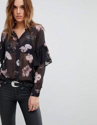 Religion Sheer Shirt In Floral - Black