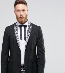 Religion Skinny Blazer With Leopard Lapel - Black