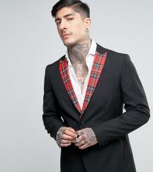 Religion Skinny Blazer with Tartan Lapel - Black