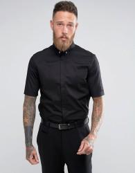 Religion Skinny Smart Short Sleeve Shirt With Stretch - Black