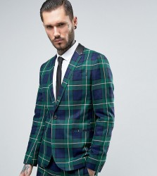 Religion Skinny Suit Jacket in Check - Green