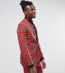 Religion Skinny Suit Jacket in Tartan with Zip Detail - Red