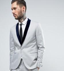 Religion Skinny Suit Jacket with Contrast Velvet Lapel - Grey