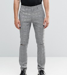 Religion Skinny Suit Trousers In Prince of Wales Check with Ripped Knees - Black