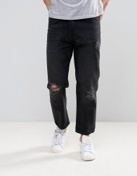 Religion Slim Jeans With Rips In Washed Black - Black