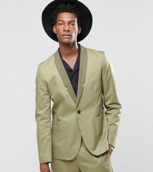 Religion Straight Blazer In Cotton In Khaki - Green
