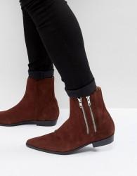 Religion Suede Pistol Boots - Brown