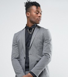 Religion Super Skinny Suit Jacket in Dogstooth with Faux Leather Back Neck - Grey