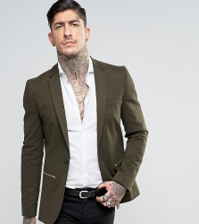 Religion Super Skinny Suit Jacket with Zip Detail - Green
