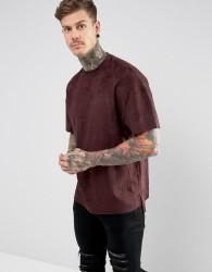 Religion T-Shirt In Faux Suede With Step Hem - Red