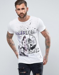 Religion T-Shirt With Half And Half Print - White